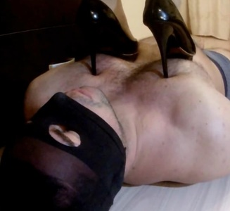 Sexy high heels hard body and face trampling