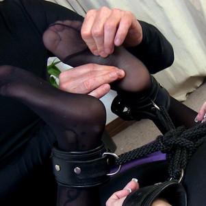 Tied up tiny feet - nylonhosed and worshipped