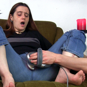My slave is using a massager to please me - hard!