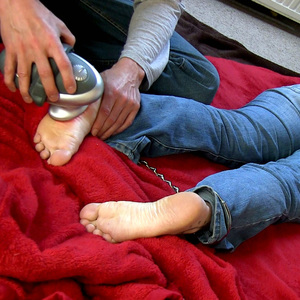 Massaging my cuffed jeans girl