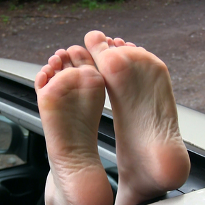 Freedom for my feet - soles through the car canopy