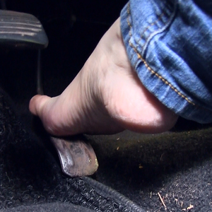 Barefoot pedal pumping in the car