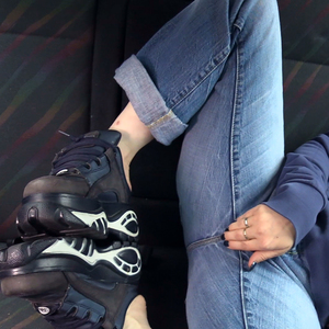 Turned on with hot buffalo clogs in a car