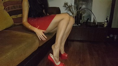 Beautiful feet, red toenails, high heels