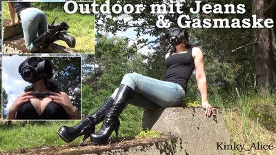Outdoor with jeans and gasmask
