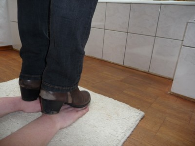 Trample my slave's hands with brown ankle boots