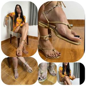 Goddess Kiffa - JOI Gold sandals Greedy Findom  - ORGASM DENIAL - FINDOM -  DANGLING - CUM CONTROL - FOOT WORSHIP - FOOT HUMILIATION - ANKLETS - FEMDOM - AMATEUR - FOOT SLAVE