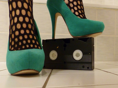 Crushing VHS Cassetts with High Heels and Nylons