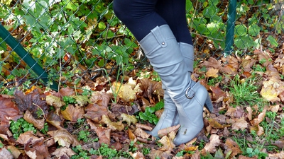 Walking in the forrest with boots