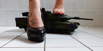 Crushing a tank with high heels