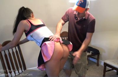 Cheerleader gets Spanked