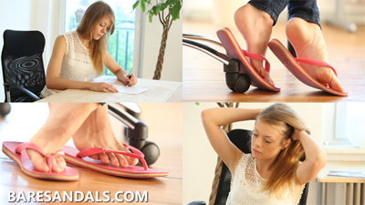 Student Selena feet and shoeplay in pink flip flops under her desk, update 4137